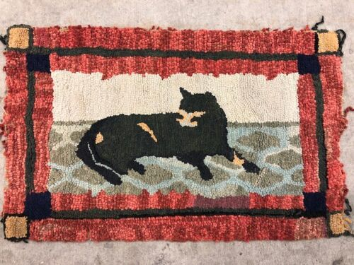 Early Antique Cat Hooked Rug