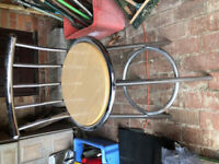 2 stainless steel and timber seat bar stools