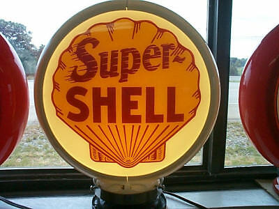 gas pump globe SUPER SHELL repro. 2 GLASS LENS in a white plastic body NEW