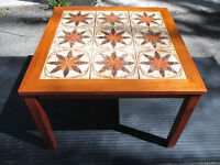VINTAGE DANISH-MODERN SCANDINAVIAN TEAK WOOD TILE COFFEE TABLE