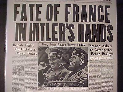 Vintage Newspaper Headline World War 2 Nazi Germans Hitler Mussolini France Wwii