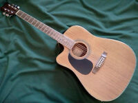 """HOHNER"" LEFTHAND ACOUSTIC/ELECTRIC CUTAWAY GUITAR with SOFTCASE"