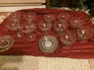 Glass dessert bowls and saucers London Ontario image 1
