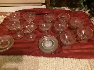 Glass dessert bowls and saucers