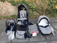 Chicco 8 pce Travel System, inc car seat, lie flat stroller, cosytoes, pram, raincovers, bag