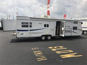 2007 JAYCO 29 FT WITH REAR AND SIDE SLIDE OUT QUAD BUNKS -AS IS