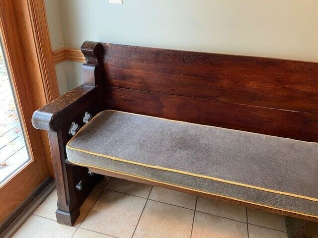 "Beautiful Antique Church Pew Bench 100"" long, with cushion"