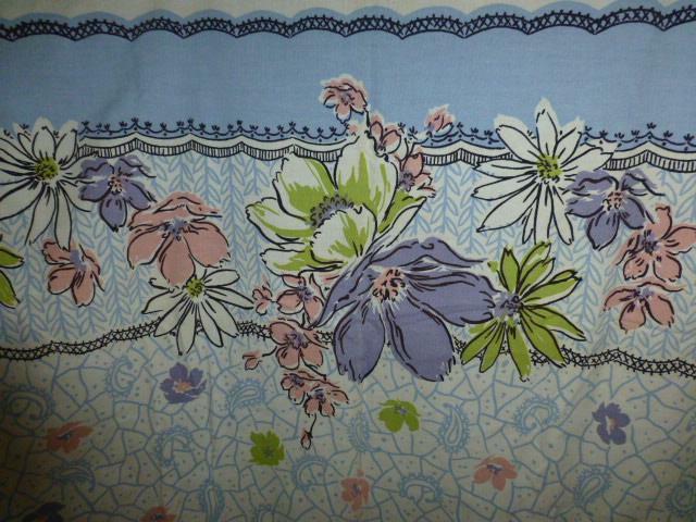 Vtg Simtex Flower 40s 50s linen or cotton Tablecloth