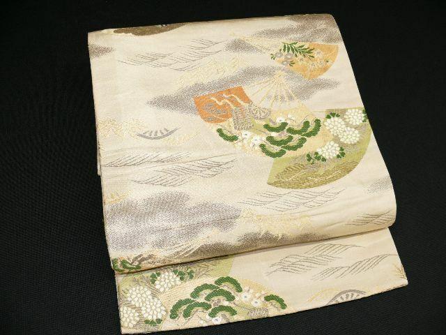 Antique Grayish Beige Silk Japanese MARU OBI w/SENSU, Court Carriage E767