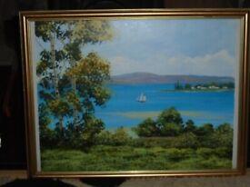 Vintage Oil Painting, Landscape, Seascape, by R Harper, Signed