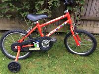 "Kids Raleigh 14"" Bicycle with stabilisers and 2 helmets"