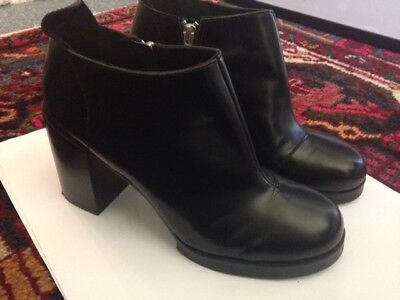 Cheap Monday Platform Black Leather Zip Boots UK7 EU