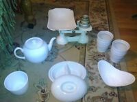 Assorted White crockery and scales