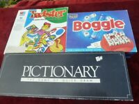THREE BOARD GAMES. BOGGLE, TWISTER AND PICTIONARY