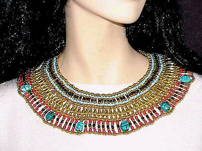 Halloween Costume LUCK Scarabs Blue Red Small Cleopatra Necklace - Cleopatra Costume Necklace