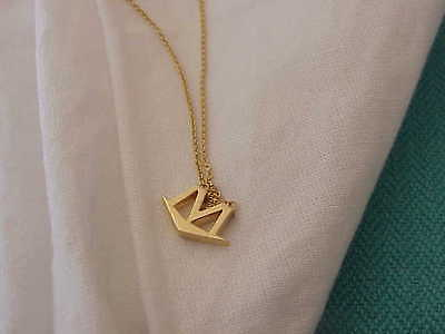 "MOVADO DESIGNER 18K SOLID GOLD M INITIAL 18"" NECKLACE SIGNED"