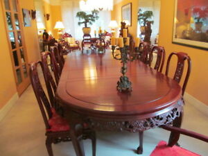 Rosewood Chinese Table 10 Chairs Perfect Condition