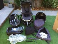 Quinny Buzz '3 in 1' Travel System; car seat, carry cot, stroller seat, 3 wheeler frame +ISOFIX unit