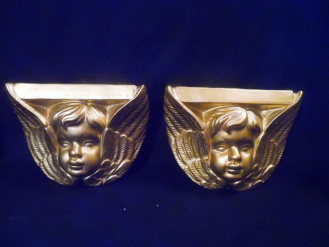 PAIR of vintage, Golden Cherub Angel wall shelves for Christmas or Nursery