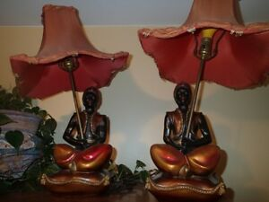 Vintage Chalkware Lamps and ashtrays