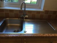 SINGLE BOWL AND DRAINING BOARD STAINLESS STEEL LINEN EFFECT FINISH SINK & BRITA FILTER TAP