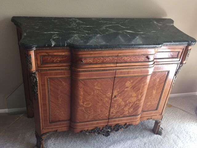 Antique Marable Buffet Cabinet