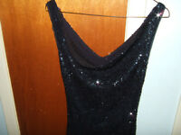 sparking black short / long evening  gown ( small )
