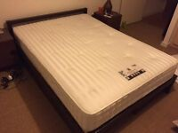 Muji walnut double storage bed, mattress & 2 IKEA side tables. Excellent condition