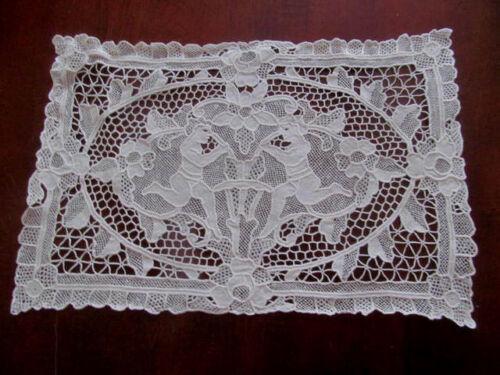 CHERUBS Antique Fine White Figural Needlelace Doily Mat Placemat~Handmade