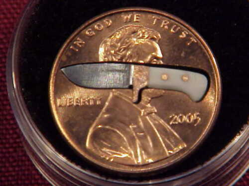 C.W. SHOEMAKER PENNY KNIFE BOWIE KNIFE SMALLEST KNIFE ON EBAY INSIDE A COIN WOW