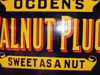 Vintage Enamel Signs Ogdens Walnut Plug Tobacco Sign 1910. Many other signs in great condition