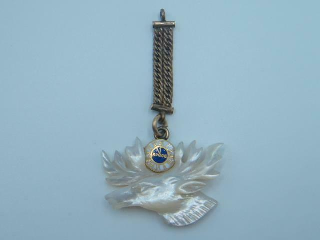 Antique BPOE Gold Filled Carved Mother of Pearl Order of Elks Watch Fob Chain