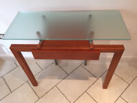 Side table - Cherry wood & aluminum frame with frosted glass top