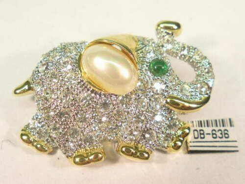 DESIGNER  ELEPHANT PIN BROOCH WITH  SWAROVSKI CRYSTALS & FAUX PEARL  DB634UP