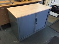 Desk height tambour cabinet with key