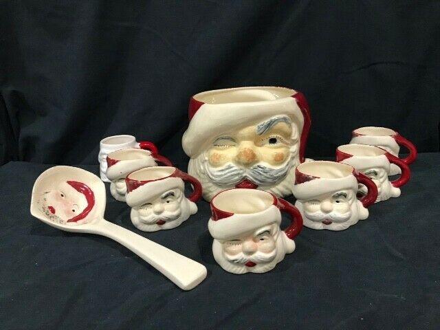 Vintage Santa Claus eggnog / punch bowl, 7 mugs, and ladle, 1950s,