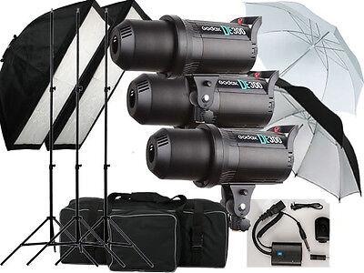 900w Flash kit Godox DE-300 Photography Studio light 3 x 300w Bowens Fit UK ONLY