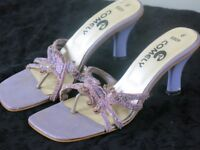 lavender short heel sandals