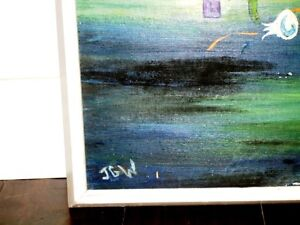 ORIGINAL ABSTRACT oil painting SPACE DUST signed WILLIAMS vntg. Kitchener / Waterloo Kitchener Area image 5