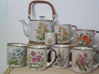 Set of six Japanese made earthenware mugs plus teapot & small lidded container