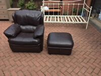 Leather chair and storage foot stool