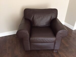 Leather Chair and Ottoman / Armchair and Ottoman in Leather