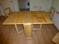 Butterfly Folding Drop Leaf Dining Table And 4 Chairs