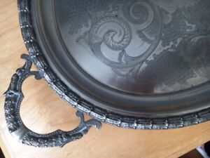 "VINTAGE ANTIQUE 20"" DECOR TRAY / PLATTER (SILVERPLATED)"