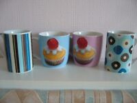new pair blue & pink cup cake mugs and 2 next mugs - Southbourne