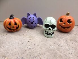 Halloween pumpkin, skull, bat decorations