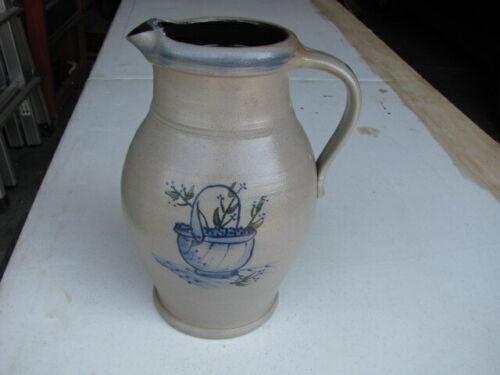 "11"" Large 1999 Rowe Pottery Blueberry Basket Pitcher - Artist signed"
