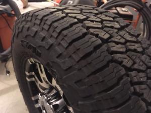 Helo HE835 8 lug rims c/w Falken Wildpeak A/T tires