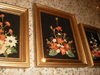 3 framed  dried flower shadow box pictures