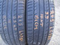 215 55 16 Michelin, Primacy Hp ,93h, x2 A pair 6.4mm(450-458 Barking Road,E13 8HJ) Part Worn